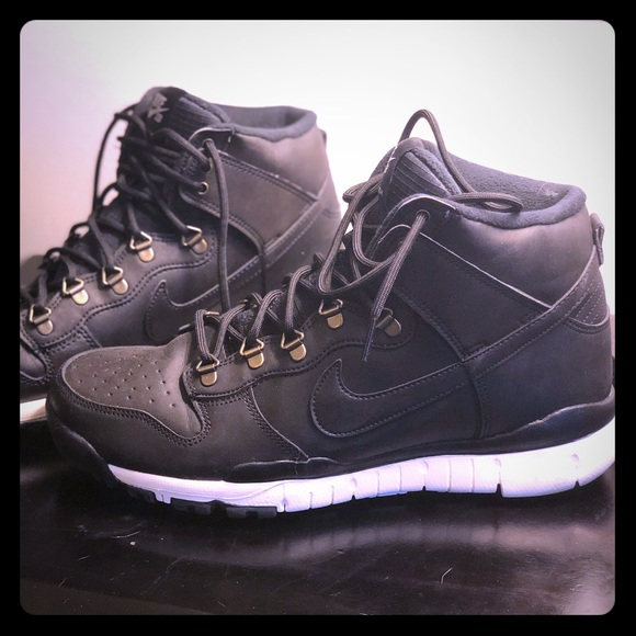 new style a1cf4 b6b5e Nike SB Dunk High OMS Black Boot 10.5